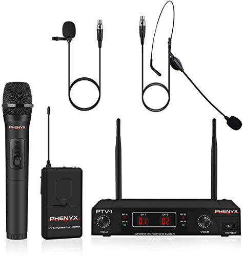 Wireless Microphone System, Phenyx Pro VHF Cordless Mic Set With 1...