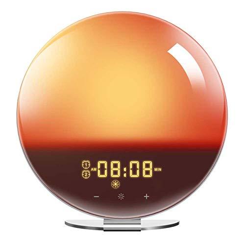 Digital Alarm Clock Wake Up Light FM Radio Smart Alarm Clock, Simulating Sunrise And Sunset Sleep Aid Lights with 8 Natural Ringtones, 7 Colors of Lights