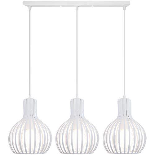 iDEGU 3 Lampes Suspension Luminaire Moderne, Lustre Plafonnier en Forme de Cage à Vase Lampe de Plafond pour salon cuisine salle à manger restaurant - diamètre 20cm, Blanc (Barre)