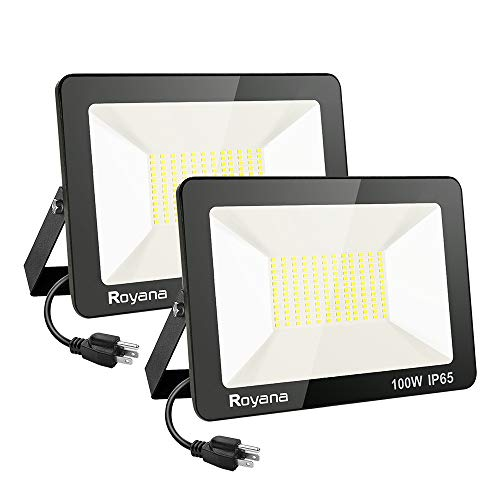 2pack 100W LED Flood Light Outdoor with Plug,IP65 Waterproof LED Work Lights,6000K 10000LM Super Bright Security Light,Daylight White Portable Floodlight,Spotlight for Yard Garden Court Lawn