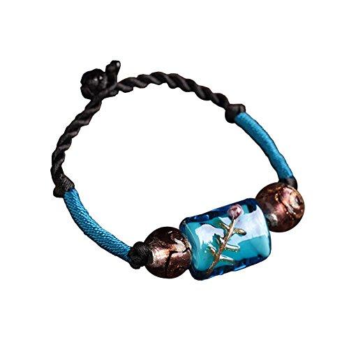 Rétro style chinois bijoux tissés Bracelets ethniques main Agate Bracelet