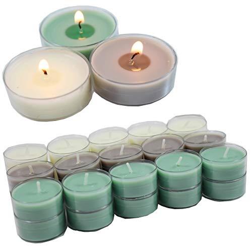Smart-Planet® Kerzen Ambiente - 30 Stück Duftteelichter Teelichte Set Fresh Cotton - transparente Hülle - 4 Stunden Lange Brenndauer