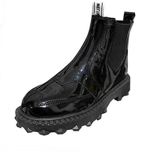 Oksea Damen Gummistiefel Regenstiefel Kurzschaft Stiefel Blockabsatz Chelsea Boots Rain Schuhe Rutschfester Gummiband Wasserschuh Mit Niedrigem Absatz