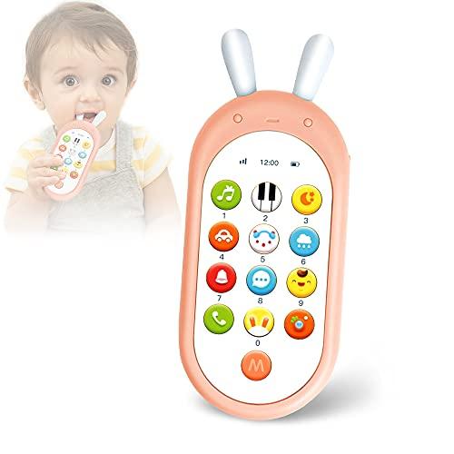 Richgv Movil Bebe, Telefono Juguete, Mando a Distancia Conejo, Teléfono para niños con Luces de Flash, Sonidos y Canciones (Rosa)