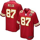 Jersey de rugby de fútbol americano personalizado Travis Kansas City NO.87, Jefes Kelce Youth Team Color Game Jersey de secado rápido para niño - Rojo