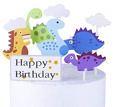 Topper per torta con dinosauro, in carta, inserto rotondo per torta per compleanno, matrimonio, festa