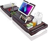 Sunix Bandeja de Bañera de Bambú Premium, Bandeja de baño Universal con Soporte para iPad/reposa Libros, Organizador de Baño Inferior Antideslizante Lados Extensibles, Jabonera Gratis, Disfrute Baño