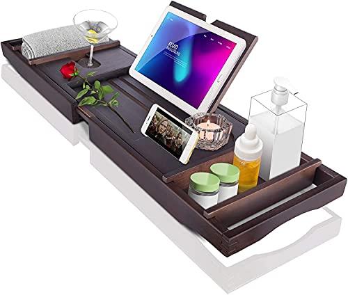 Sunix Bambus Badewannenablage, Ausziehbar Badewannenbrett mit Seifenschale, rutschfest Badewannensitz mit Tablett und Weinhalter,Badewannentablett