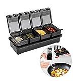 Cocina condimento Box Set, práctica a Prueba de Humedad Tarro de condimentos Especias con Tapa Perforada 4 cucharas de Servir y Antideslizante Base-A (Color : A)