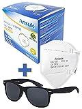 Set mit Ansuk 100 Stück FFP2 Atemschutzmasken | Schutzmaske | Mundschutzmaske 5-lagig EU Zertifiziert von offizieller Stelle CE2834 - EN 149:2001+A1:2009