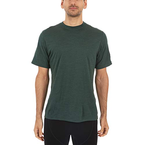 Minus33 Merino Wool 703 Algonquin Men's Lightweight Short Sleeve Crew - Anti Odor No Itch Renewable Fabric Forest Green Heather