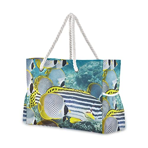 Bolsas de playa grandes Totes de lona Bolsa de hombro Red-Sea-Fish-Egypt-2048X2048 Bolsas...