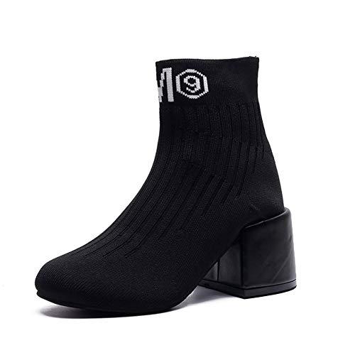 Europa Und Amerika Bequeme Dicke Absatzschuhe Stretch Kurze Stiefel Gewebt Socken Stiefel Damen,Black,39EU