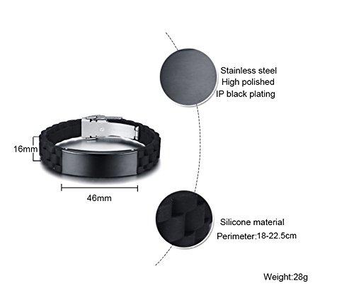 ANAZOZ Stainless Steel 16MM High Polished Men Black Silicone Bracelets Adjustable
