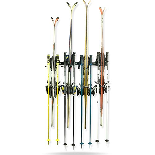 Koova Snow Ski Rack Wall Mount for Indoor Storage | Securely Holds 4 Pairs of Skis Plus Poles | Made in USA