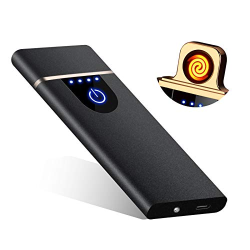 RiverMolars Y20 USB elektronisches Feuerzeug, Aufladbar Lichtbogen Elektro Feuerzeug, Touchscreen, Winddicht, Flammenlos, für Anzünden, Küche, Grill, Kerzen und Zigaretten (Matte-Schwarz)