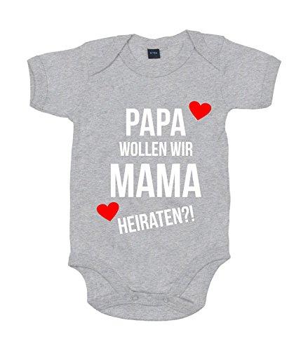 Baby Body Heiratsantrag Für Jungen Und Mädchen Mit Motiv Spruch Papa wollen wir Mama heiraten? in 10 erhältlich Heather Grey Melange 0-3 Monate