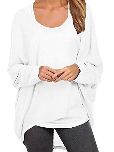 ZANZEA Damen Lose Asymmetrisch Jumper Sweatshirt Pullover Bluse Oberteile Oversize Tops Weiß EU 50/Etikettgröße 3XL