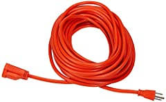16-gauge, 3-wire outdoor extension cord; all-copper wire High visibility orange for easy visibility; 3-prong grounded plug for added safety Vinyl covering protects against moisture, abrasion, and direct sunlight Rating: 13 Amps, 1625 Watts, 125VAC Le...