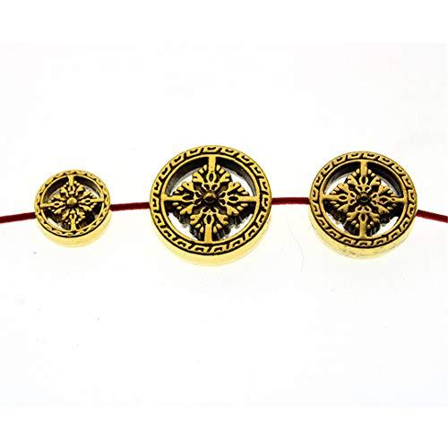 EKimmer 10Pcs 12 16 18 Mm Metal Spacer Beads Nepal Buddha Beads For Jewelry Making Charms Bracelet DIY Handmand antique gold 12mm