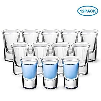 Shot Glasses, RUCKAE 1 OZ Shot Glasses Set with Heavy Base, Clear Shot Glasses Set of 12