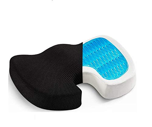 OBLIQ Orthopaedic Coccyx Pillow Tailbone Seat Cushion with Cooling Gel High Density Memory Foam to Relieve Sciatica, Back Pain Relief for Chair, Wheel Chair, Car (Black)