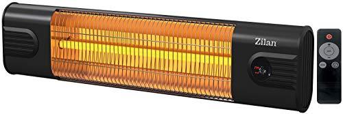 Karbon Heizstrahler | Terrassenstrahler | Heizgerät | Infrarotstrahler | Karbonstrahler | 1800 Watt | Display | Karbonlampe | Timer | Fernbedienung | Spritzwasser geschützt | Überhitzungsschutz