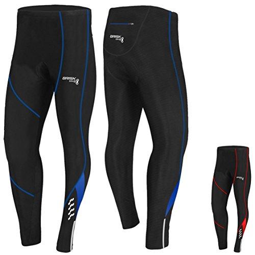 Brisk Bike Herren Fahrradhose, Thermo-Leggings, Coolmax, gepolstert, italienischer Stoff, Herren, schwarz / blau, M