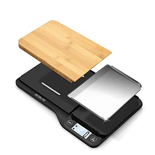 NUTRI FIT Küchenwaage, Digitale Waage mit abnehmbarem Bambus-Schneidebrett und 3-in-1-elektronischer Waage, LCD-Anzeige, 5 kg, hohe Präzision bis 1 g (Messlöffel und Batterien enthalten)