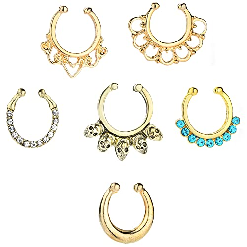 VOHO 6 Pcs Fake Nose Ring Hoop for Women Men Non Piercing, Clip on Nose Rings Hoop Nose Cuffs, Septum Nose Ring Horseshoe Faux Piercing Jewelry (Gold)