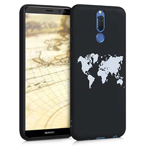 kwmobile Hülle kompatibel mit Huawei Mate 10 Lite - Handyhülle - Handy Case Travel Umriss Weiß Schwarz