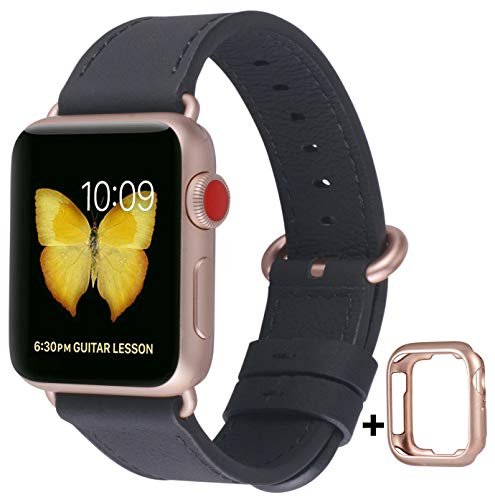 JSGJMY Compatible with Apple Watch Band 38mm 40mm 42mm 44mm Women Men Genuine Leather Replacement Strap for iWatch Series 5 4 3 2 1 (Black with Series 5/4/3 Rose Gold Clasp, 38mm/40mm M/L)