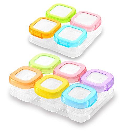 SONARIN Recipientes para comida de bebé sin BPA, contenedor de almacenamiento de suplemento de alimentos para bebés, refrigerar y microondas,100% a prueba de fugas(6 x 60 ml + 4x 120 ml)
