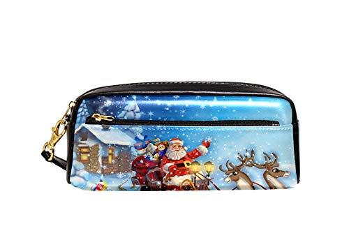 Bennigiry Nikolaus-Schlitten mit Rentier, große Kapazität, Federmäppchen für Kinder und Studenten, für Reisen, Schule, kleine Kosmetiktasche