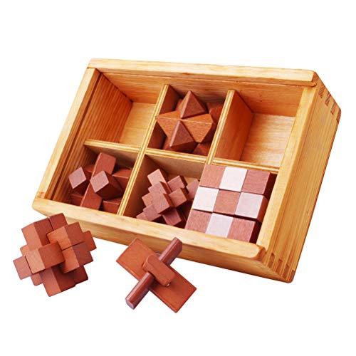 6 PC/Sistema de Madera Kong Ming Bloqueo de Juguete Juego de IQ del Enigma Que entrelaza Burr Puzzles para Niños Adultos Rompecabezas