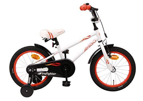 AMIGO Firefighter - Bicicleta infantil para niño, 16 pulgadas, con freno de...
