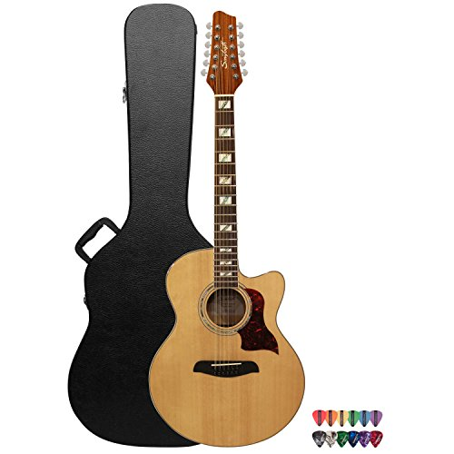 Sawtooth Solid Spruce Top Jumbo Cutaway 12 String Acoustic Electric Guitar with Flame Maple Back and Sides, Fishman Preamp, Hard Case and Pick Sampler