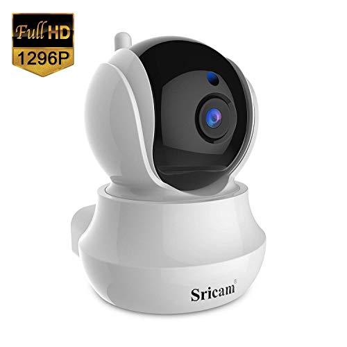 WLAN AP IP-Kamera, Sricam020 1296P HD WiFi Überwachungskamera, mit 355 ° Schwenkbar, Heim- und Babyphone mit Bewegungssteuerung, Zwei-Wege-Audio, Nachtsicht gehören Fernalarm und Mobile App Kontrolle