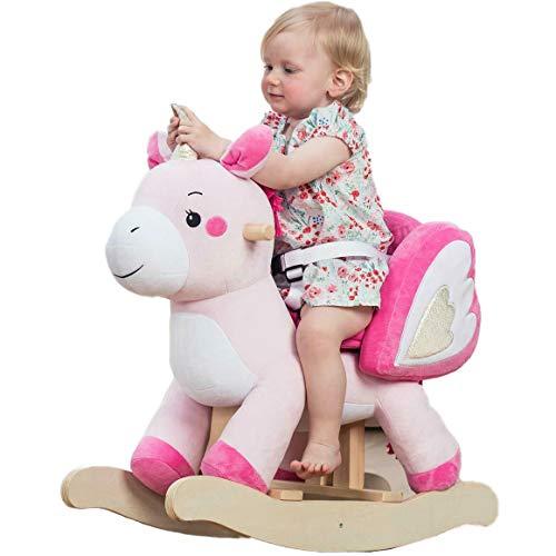 Labebe Child Rocking Horse Toy, Stuffed Animal Rocker, Ride On Unicorn for Kid 6-36 Months, Toddler Rocking Horse/Wooden Rocker/Animal Ride on(Pink)