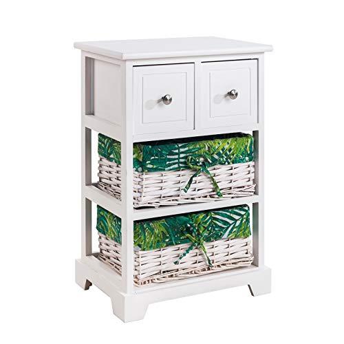 CARO-Möbel Kommode Petunia Highboard Schubladenregal im Vintage Shabby Chic Design mit 2 Schubladen, 2 Körbe