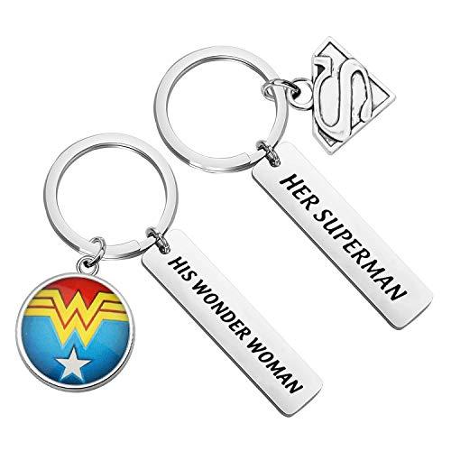 ENSIANTH Coppia Portachiavi DC Comics Ispirato Regalo His Wonder Women Her Superman regalo per fidanzata fidanzata e Metallo, cod. UKKY-His Wonder Women Her Superman