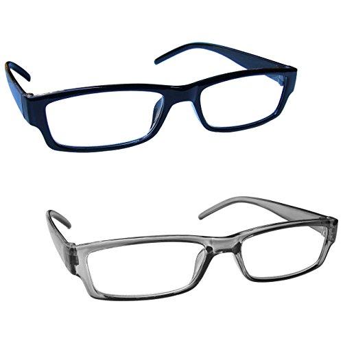 The Reading Glasses Company Nero E Grigio Leggero Comodo Lettori Valore 2 Pacco Uomo Donna Rr32-17 +2,00 - 58 Gr