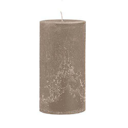 Rustico durchgefärbte, strukturierte Stumpenkerze 300/100mm taupe | Brenndauer: ca. 200 Std | Original von Steinhart