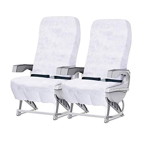 AICHUANGBAO Housse de siège d'avion jetable, Housse de siège Non tissée, adaptée pour Avion, Train, kit de Voyage en Voiture (2 Housses de siège + 2 sièges de Toilette jetables)
