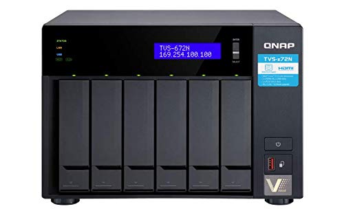 QNAP TVS-672N-i3-4G-US 6 Bay NAS with 5GbE, Intel Core i3, Dual PCIe and Dual M.2 Slots, 4GB DDR4 memory, USB Type-C Ports, Supports SSD Cache