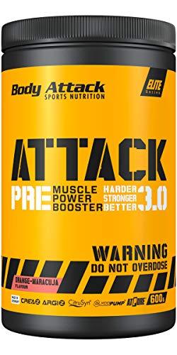 Body Attack Pre Workout Booster PRE ATTACK 3.0 I Muscle Pump Booster I CREAZ, ARGIZ & CitruSyn füllen die Muskel-Energiespeicher I Mehr Kraft, mehr Pump I 600g (Orange Maracuja)