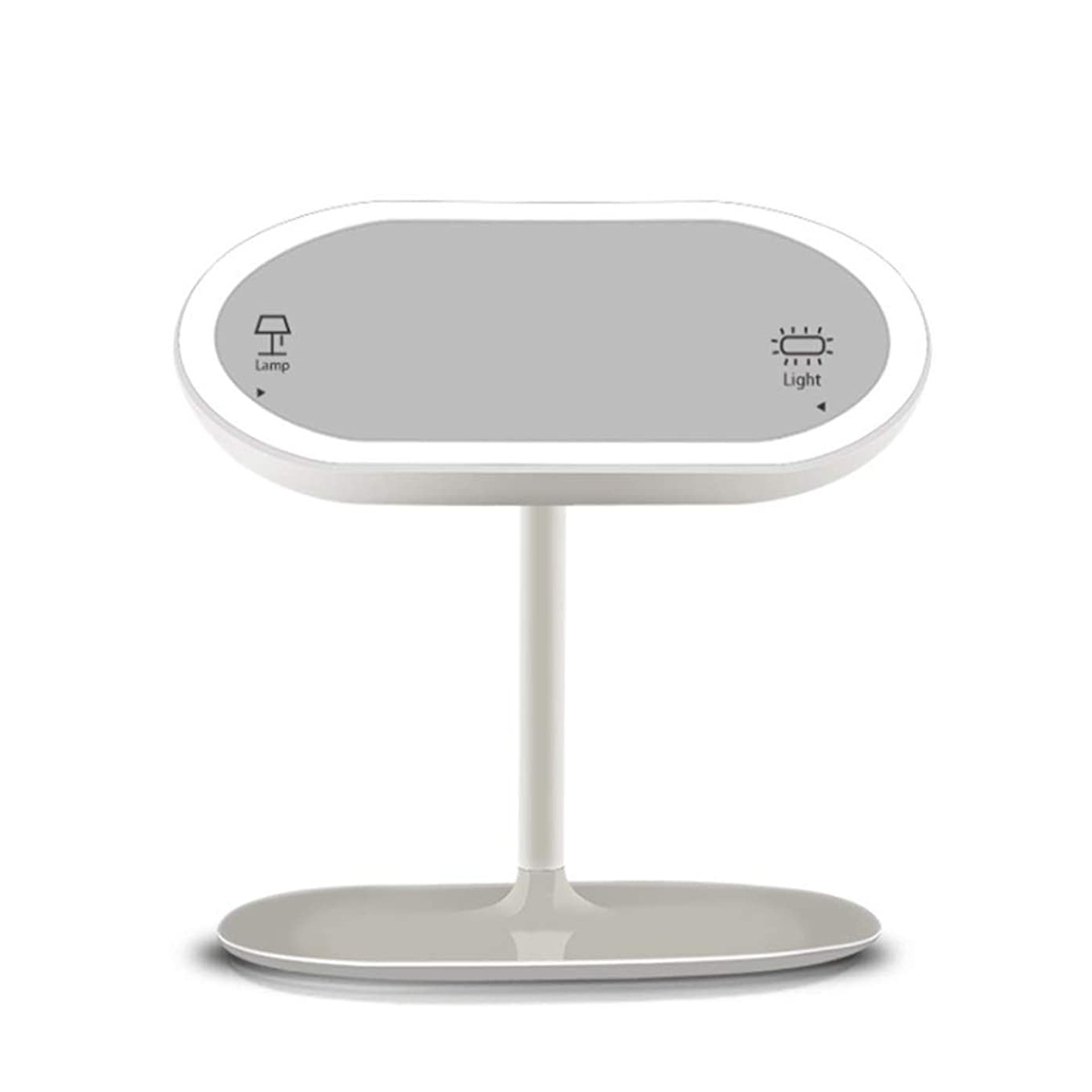 ギャロップ分離金銭的な化粧鏡 二重使用再充電可能な導かれた化粧の虚栄心ミラーが付いているテーブルライトタッチスクリーンが付いている照明付きミラー360°調節可能な回転USBケーブル メイクアップに最適 (色 : 白, サイズ : Free size)