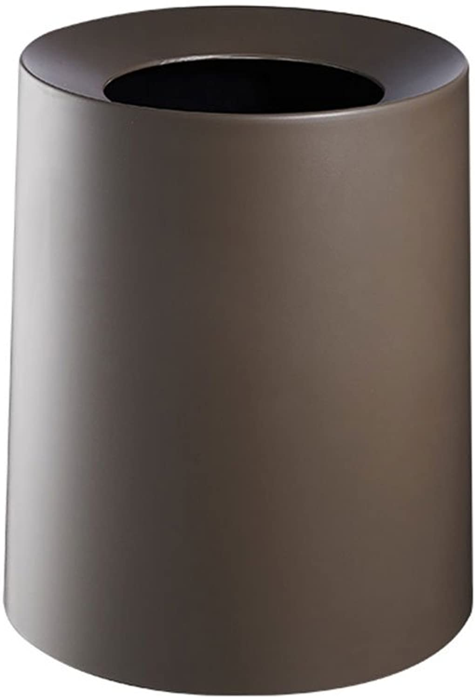 LJT Mülleimer Einfache Einfache Einfache Art Mülleimer Mit Kunststoff Innenschaufel Kreisschotterkorb, Keine Abdeckung Für Haushalt Küche Büro   12L (Farbe   Braun) B07CNZRGCC | Deutschland Shop  d74955