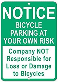 Kevin Porter Tin Sign New Metal Sign Funny Bicycle Parking Company Not Responsible for Loss Or Damage Sign 11.8