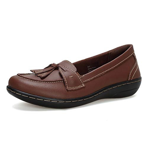 Flats Shoes Loafers for Women, Classic Genuine Leather Loafers Casual Slip-On Boat Shoes Fashion Comfort Flat Driving Walking Moccasins Soft Sole Shoes-U220MMX001-Brown-41